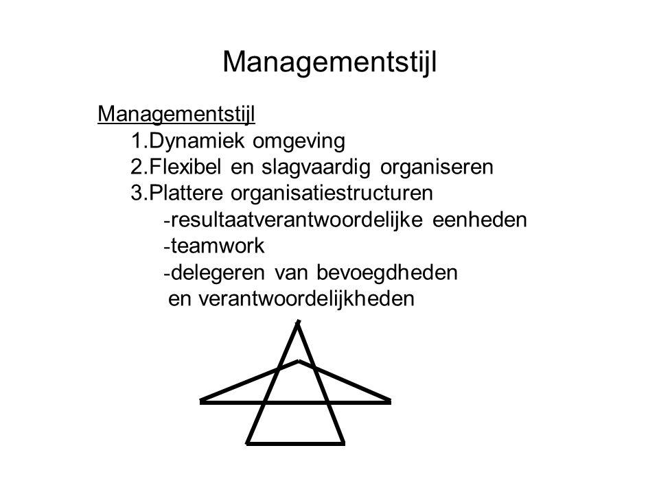 Managementstijl 1.Dynamiek omgeving 2.Flexibel en slagvaardig organiseren 3.Plattere organisatiestructuren - resultaatverantwoordelijke eenheden - tea