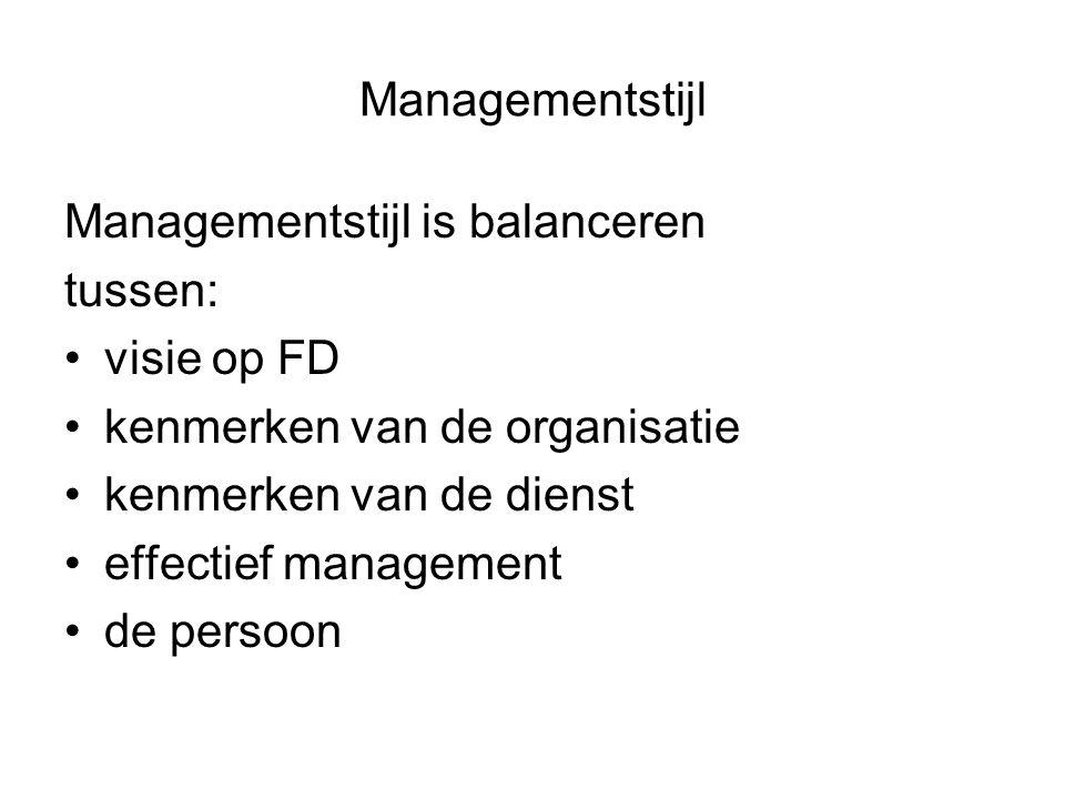 Managementstijl Managementstijl is balanceren tussen: visie op FD kenmerken van de organisatie kenmerken van de dienst effectief management de persoon
