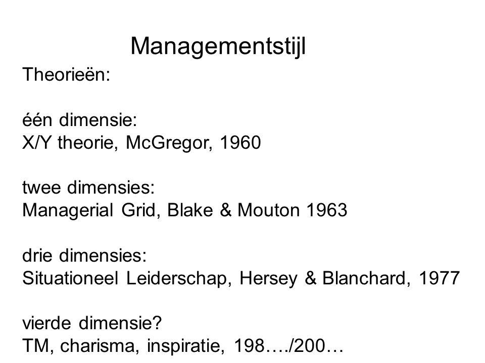 Managementstijl Theorieën: één dimensie: X/Y theorie, McGregor, 1960 twee dimensies: Managerial Grid, Blake & Mouton 1963 drie dimensies: Situationeel