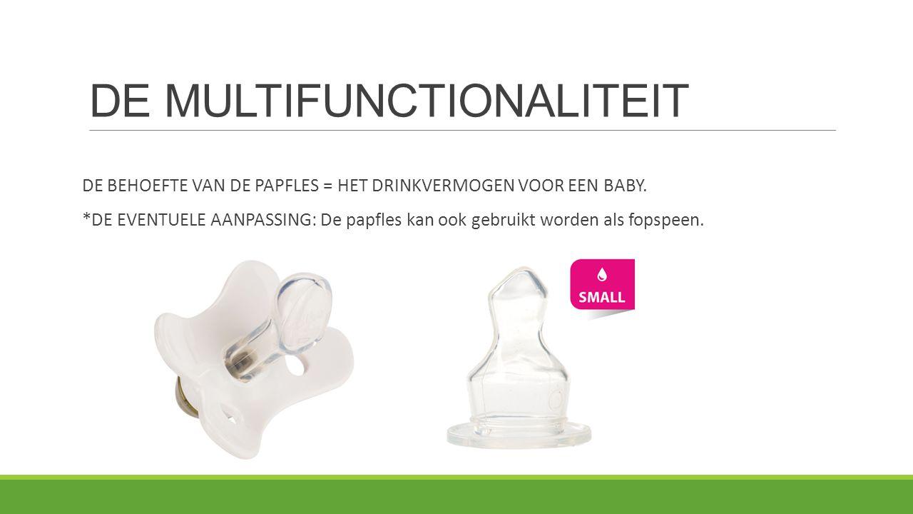 DE MULTIFUNCTIONALITEIT DE BEHOEFTE VAN DE PAPFLES = HET DRINKVERMOGEN VOOR EEN BABY. *DE EVENTUELE AANPASSING: De papfles kan ook gebruikt worden als