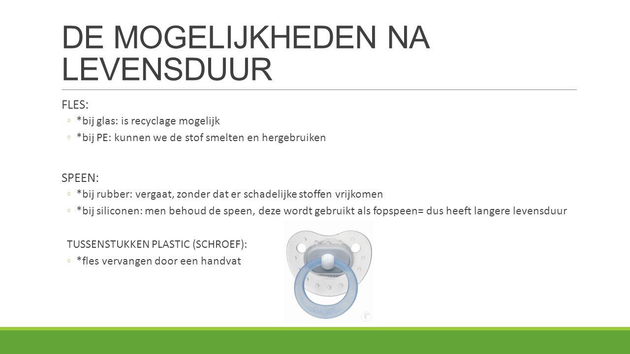 DE MOGELIJKHEDEN NA LEVENSDUUR FLES: ◦*bij glas: is recyclage mogelijk ◦*bij PE: kunnen we de stof smelten en hergebruiken SPEEN: ◦*bij rubber: vergaa