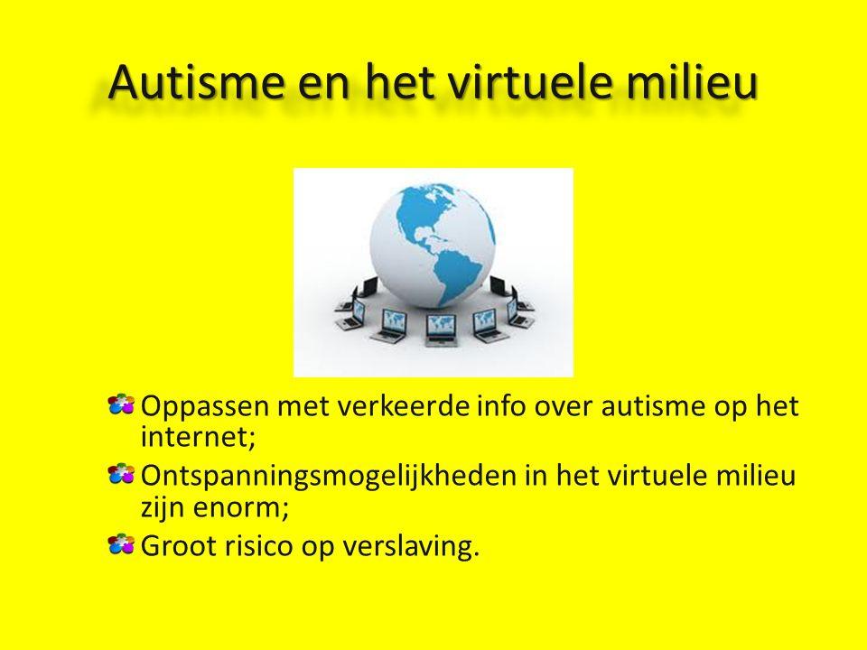Autisme en het virtuele milieu Oppassen met verkeerde info over autisme op het internet; Ontspanningsmogelijkheden in het virtuele milieu zijn enorm; Groot risico op verslaving.