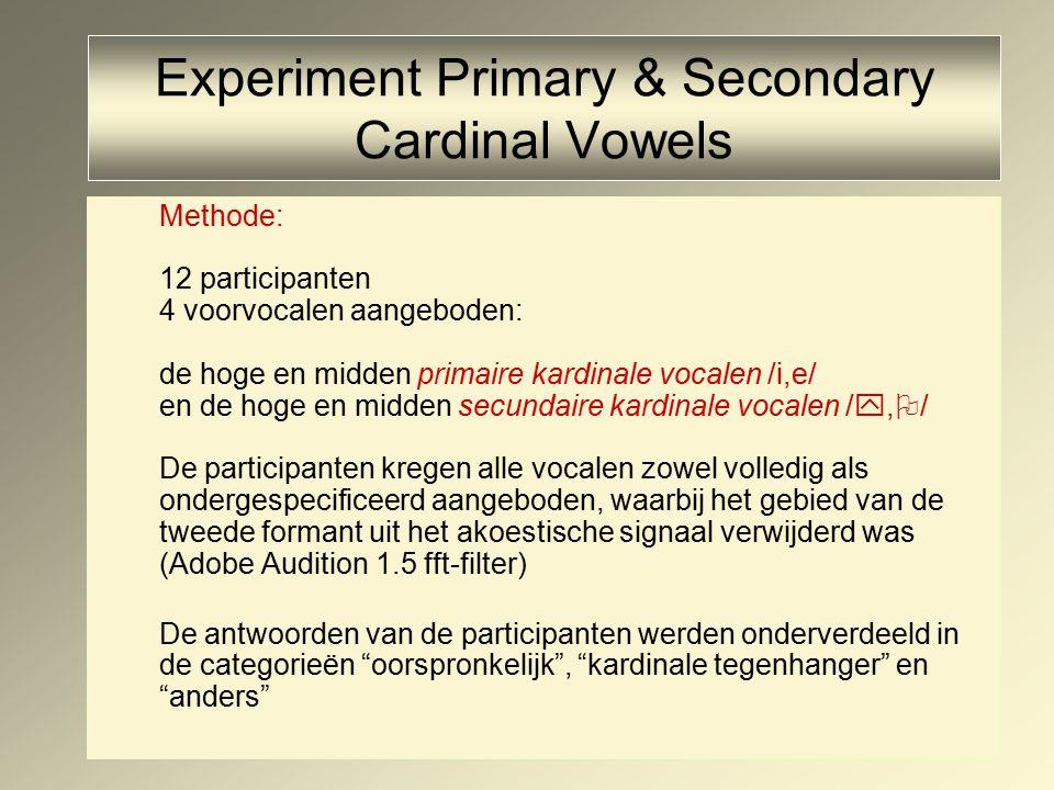 Experiment Primary & Secondary Cardinal Vowels Methode: 12 participanten 4 voorvocalen aangeboden: de hoge en midden primaire kardinale vocalen /i,e/ en de hoge en midden secundaire kardinale vocalen / ,  / De participanten kregen alle vocalen zowel volledig als ondergespecificeerd aangeboden, waarbij het gebied van de tweede formant uit het akoestische signaal verwijderd was (Adobe Audition 1.5 fft-filter) De antwoorden van de participanten werden onderverdeeld in de categorieën oorspronkelijk , kardinale tegenhanger en anders
