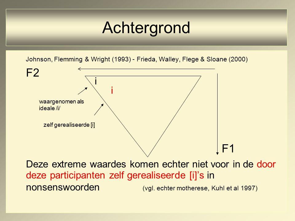 Johnson, Flemming & Wright (1993) - Frieda, Walley, Flege & Sloane (2000) F2 F1 Deze extreme waardes komen echter niet voor in de door deze participanten zelf gerealiseerde [i]'s in nonsenswoorden (vgl.