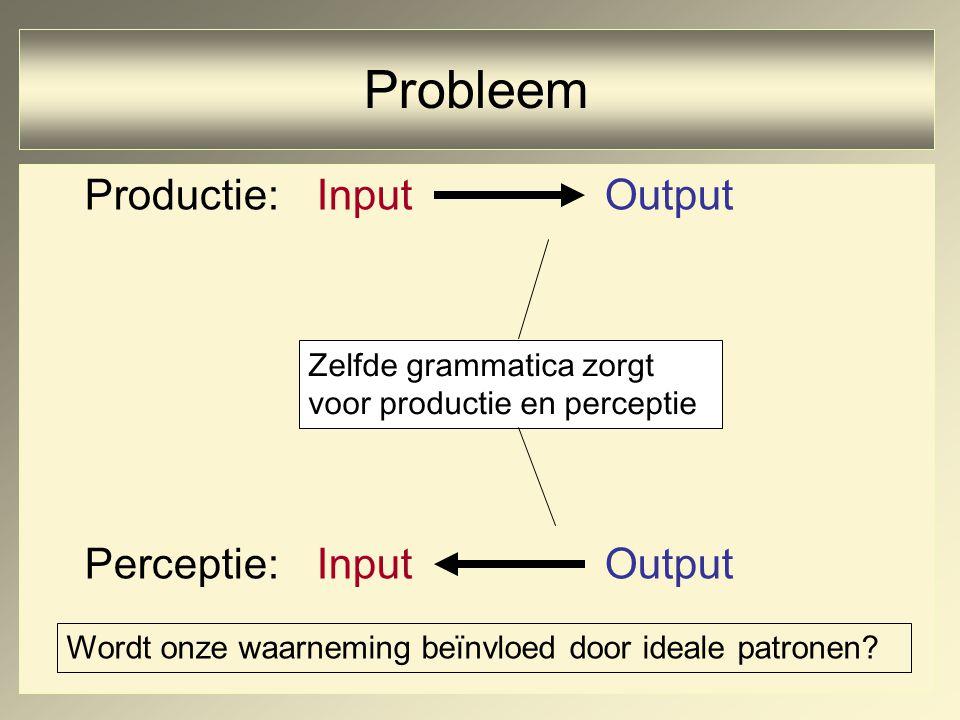 Productie:InputOutput Perceptie:Input Output Zelfde grammatica zorgt voor productie en perceptie Probleem Wordt onze waarneming beïnvloed door ideale patronen
