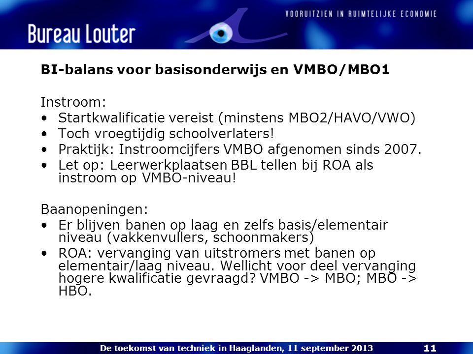 De toekomst van techniek in Haaglanden, 11 september 2013 11 BI-balans voor basisonderwijs en VMBO/MBO1 Instroom: Startkwalificatie vereist (minstens MBO2/HAVO/VWO) Toch vroegtijdig schoolverlaters.