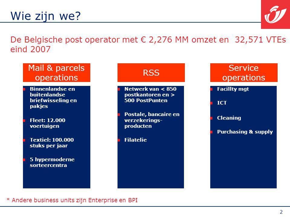 2 Wie zijn we? De Belgische post operator met € 2,276 MM omzet en 32,571 VTEs eind 2007 Netwerk van 500 PostPunten Postale, bancaire en verzekerings-