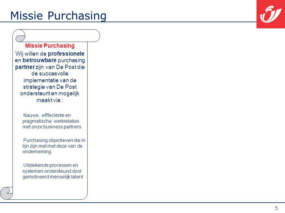 5 Missie Purchasing Wij willen de professionele en betrouwbare purchasing partner zijn van De Post die de succesvolle implementatie van de strategie v
