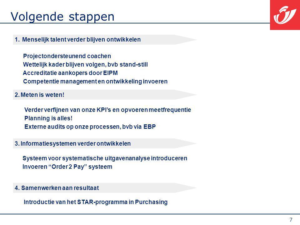 7 Volgende stappen 4. Samenwerken aan resultaat Introductie van het STAR-programma in Purchasing 3.Informatiesystemen verder ontwikkelen Systeem voor
