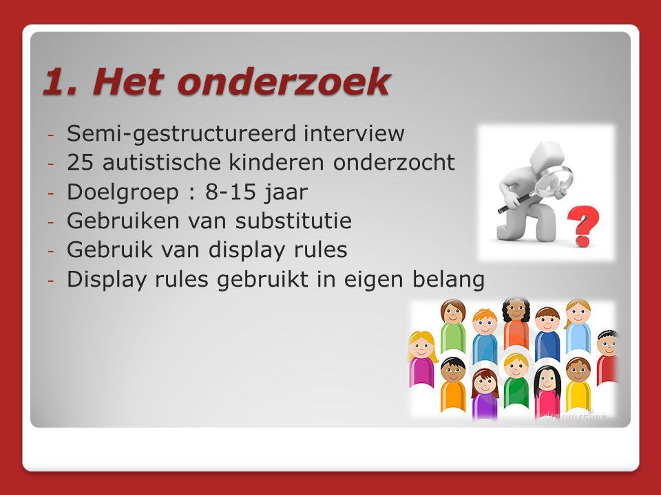 1. Het onderzoek - Semi-gestructureerd interview - 25 autistische kinderen onderzocht - Doelgroep : 8-15 jaar - Gebruiken van substitutie - Gebruik va