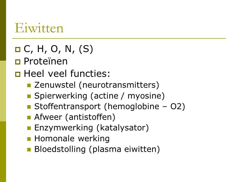 Eiwitten  C, H, O, N, (S)  Proteïnen  Heel veel functies: Zenuwstel (neurotransmitters) Spierwerking (actine / myosine) Stoffentransport (hemoglobine – O2) Afweer (antistoffen) Enzymwerking (katalysator) Homonale werking Bloedstolling (plasma eiwitten)