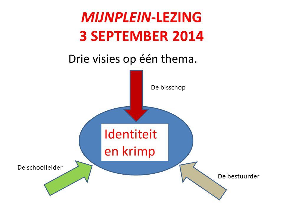 MIJNPLEIN-LEZING 3 SEPTEMBER 2014 Drie visies op één thema.