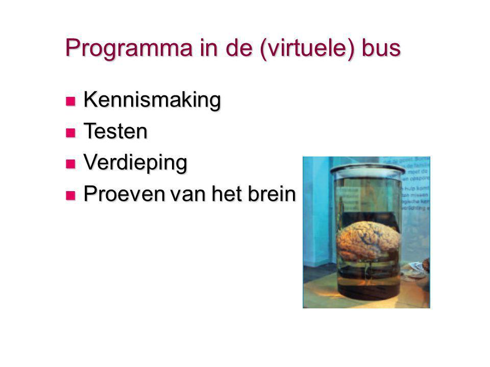 Programma in de (virtuele) bus Kennismaking Kennismaking Testen Testen Verdieping Verdieping Proeven van het brein Proeven van het brein