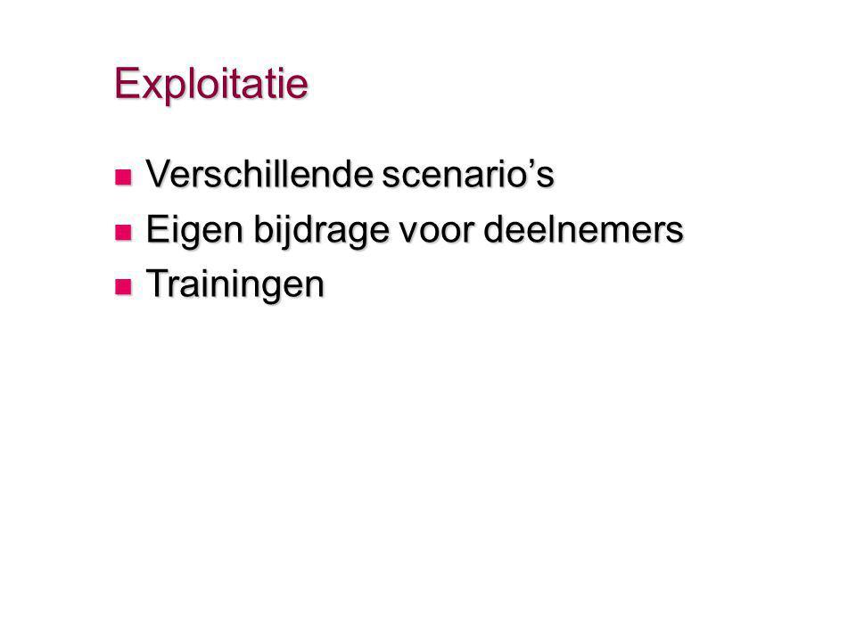 Exploitatie Verschillende scenario's Verschillende scenario's Eigen bijdrage voor deelnemers Eigen bijdrage voor deelnemers Trainingen Trainingen