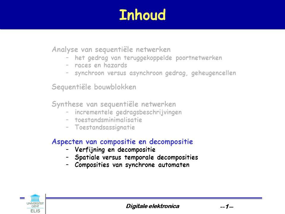 Digitale elektronica --12-- Spatiale interpretaties sequentiële voorbeelden: algemene vorm