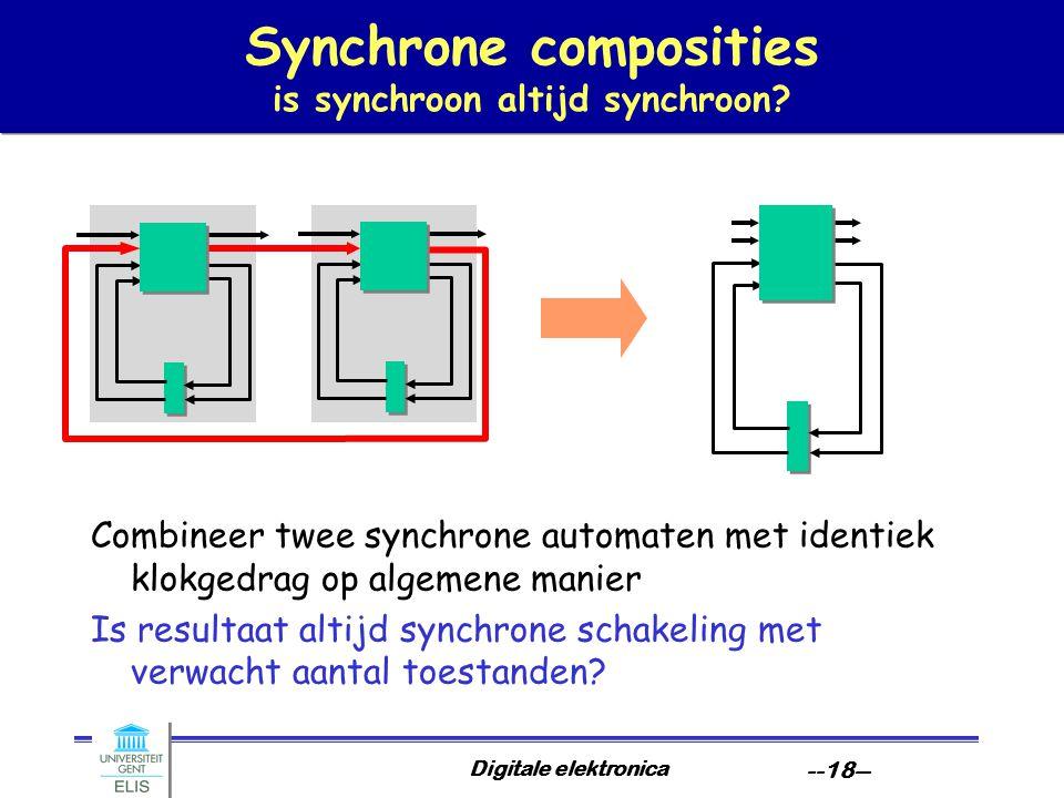 Digitale elektronica --18-- Synchrone composities is synchroon altijd synchroon.