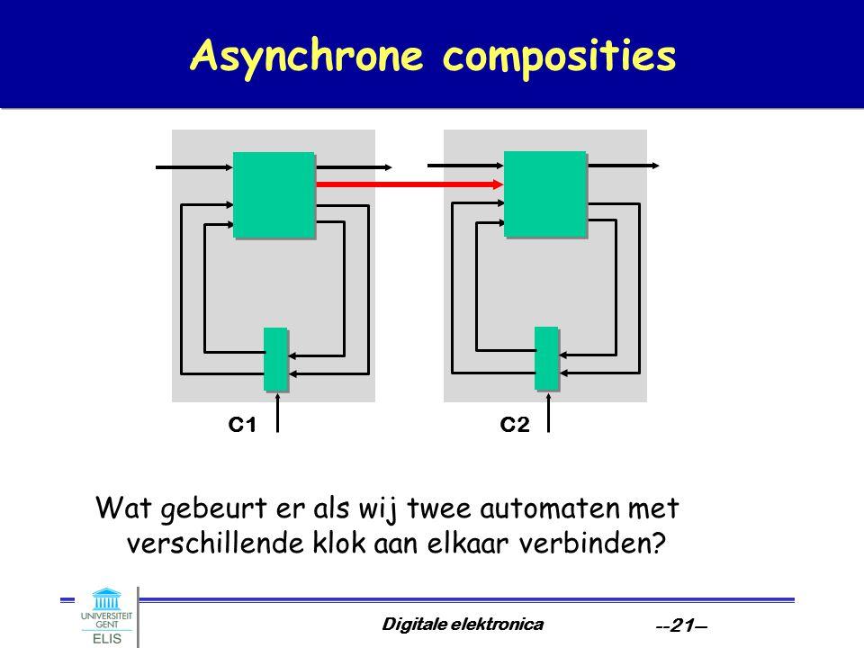 Digitale elektronica --21-- Asynchrone composities Wat gebeurt er als wij twee automaten met verschillende klok aan elkaar verbinden.