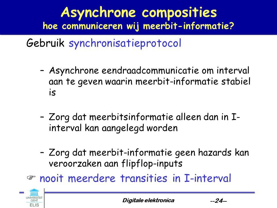 Digitale elektronica --24-- Asynchrone composities hoe communiceren wij meerbit-informatie.