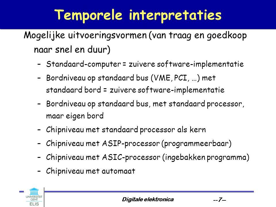 Digitale elektronica --7-- Temporele interpretaties Mogelijke uitvoeringsvormen (van traag en goedkoop naar snel en duur) –Standaard-computer = zuivere software-implementatie –Bordniveau op standaard bus (VME, PCI, …) met standaard bord = zuivere software-implementatie –Bordniveau op standaard bus, met standaard processor, maar eigen bord –Chipniveau met standaard processor als kern –Chipniveau met ASIP-processor (programmeerbaar) –Chipniveau met ASIC-processor (ingebakken programma) –Chipniveau met automaat