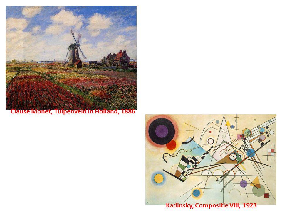 Kadinsky, Compositie VIII, 1923 Clause Monet, Tulpenveld in Holland, 1886