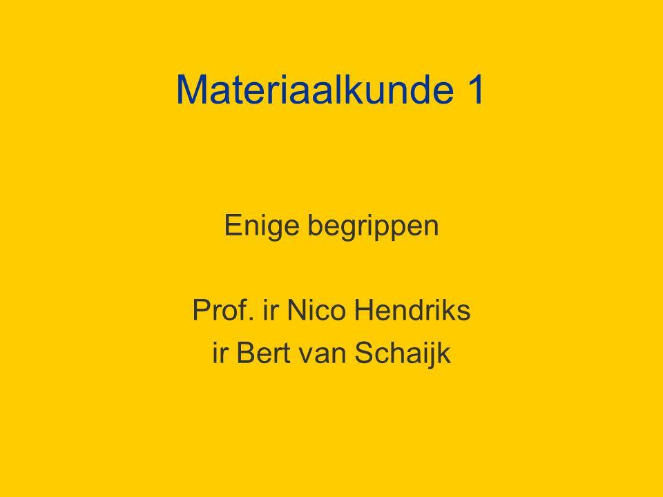Materiaalkunde 1 Enige begrippen Prof. ir Nico Hendriks ir Bert van Schaijk