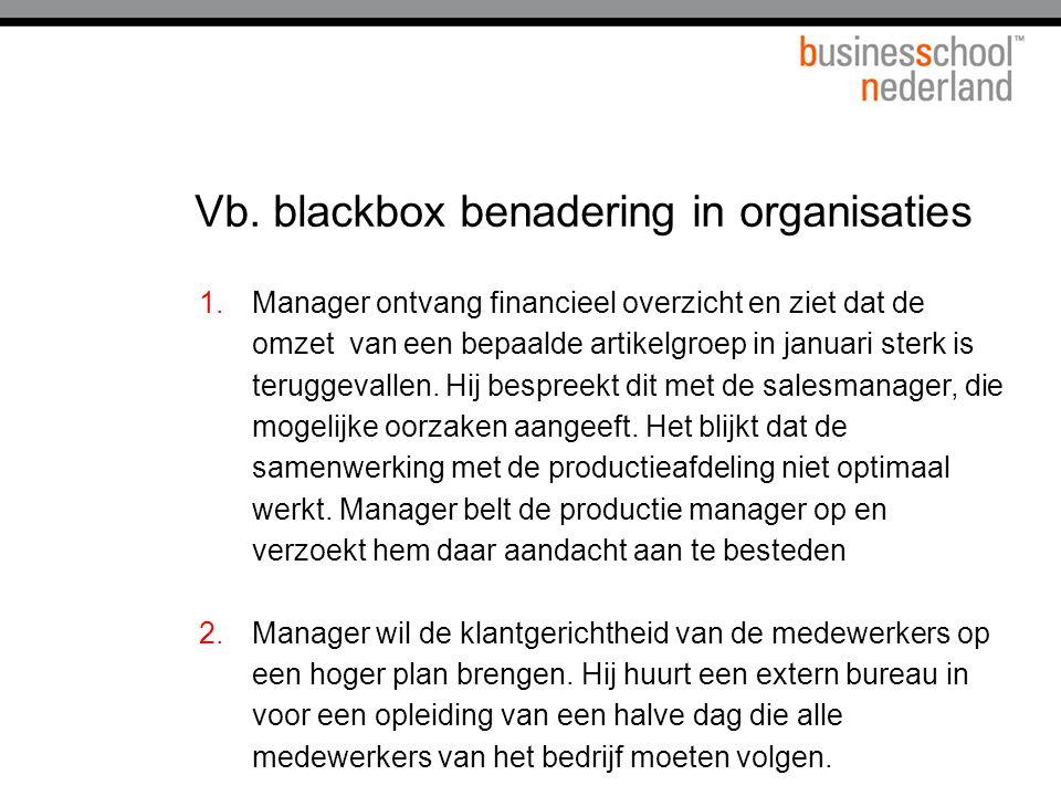 Vb. blackbox benadering in organisaties 1.Manager ontvang financieel overzicht en ziet dat de omzet van een bepaalde artikelgroep in januari sterk is