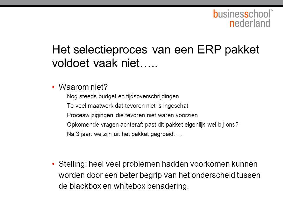 Het selectieproces van een ERP pakket voldoet vaak niet….. Waarom niet? Nog steeds budget en tijdsoverschrijdingen Te veel maatwerk dat tevoren niet i