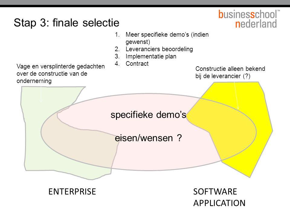 ENTERPRISESOFTWARE APPLICATION Stap 3: finale selectie specifieke demo's eisen/wensen ? 1.Meer specifieke demo's (indien gewenst) 2.Leveranciers beoor