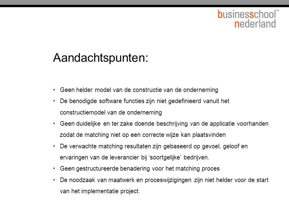 Aandachtspunten: Geen helder model van de constructie van de onderneming De benodigde software functies zijn niet gedefinieerd vanuit het constructiem