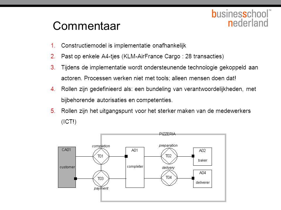 Commentaar 1.Constructiemodel is implementatie onafhankelijk 2.Past op enkele A4-tjes (KLM-AirFrance Cargo : 28 transacties) 3.Tijdens de implementati
