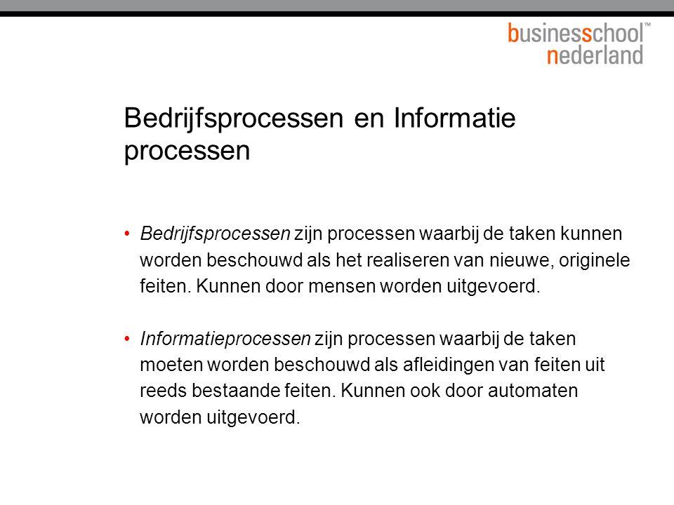 Bedrijfsprocessen en Informatie processen Bedrijfsprocessen zijn processen waarbij de taken kunnen worden beschouwd als het realiseren van nieuwe, ori