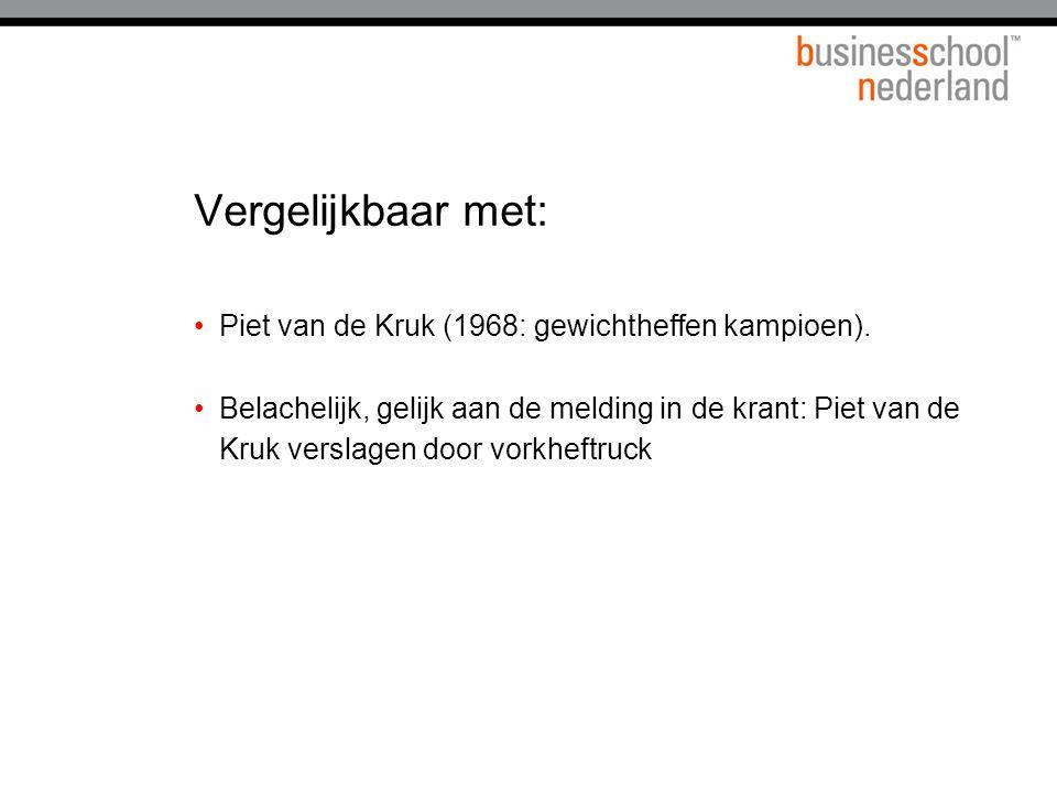 Vergelijkbaar met: Piet van de Kruk (1968: gewichtheffen kampioen). Belachelijk, gelijk aan de melding in de krant: Piet van de Kruk verslagen door vo