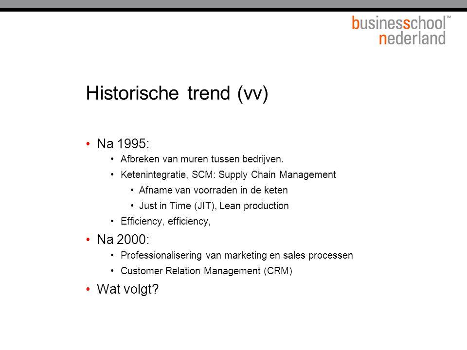 Historische trend (vv) Na 1995: Afbreken van muren tussen bedrijven. Ketenintegratie, SCM: Supply Chain Management Afname van voorraden in de keten Ju