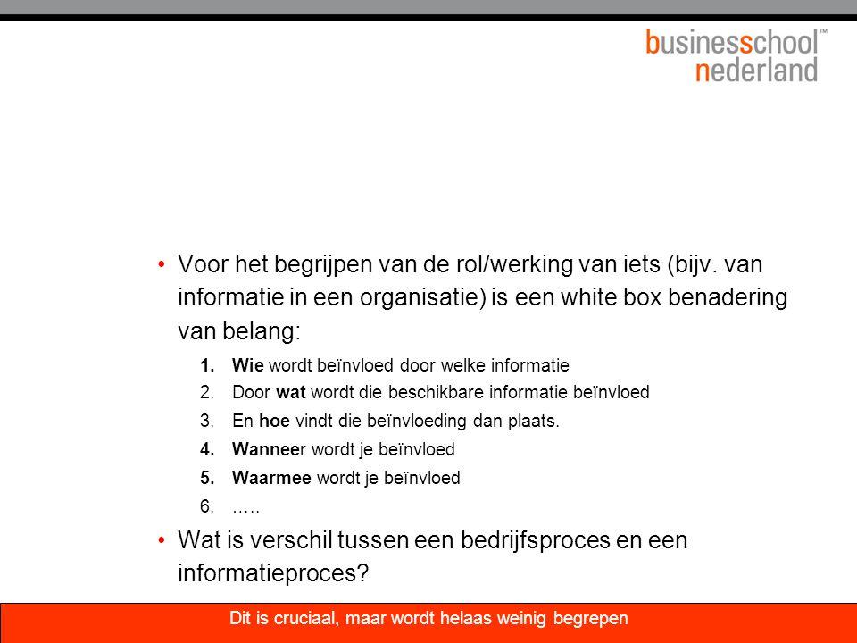 Voor het begrijpen van de rol/werking van iets (bijv. van informatie in een organisatie) is een white box benadering van belang: 1.Wie wordt beïnvloed