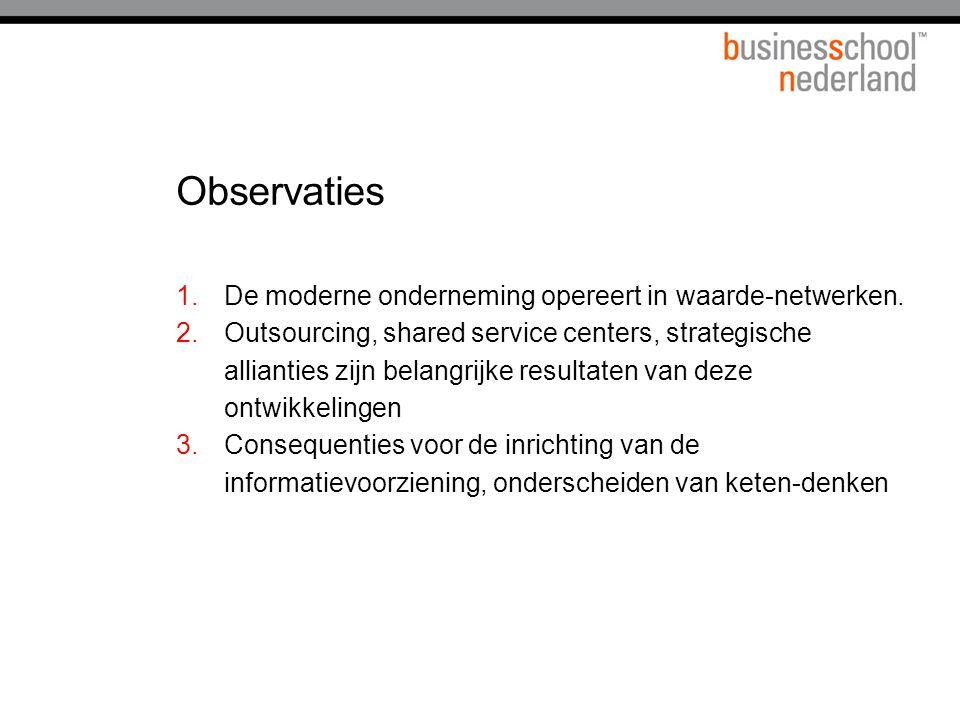 Observaties 1.De moderne onderneming opereert in waarde-netwerken. 2.Outsourcing, shared service centers, strategische allianties zijn belangrijke res