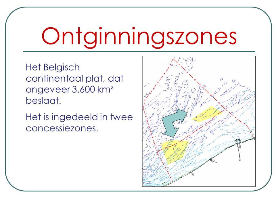 Ontginningszones Het Belgisch continentaal plat, dat ongeveer 3.600 km² beslaat.