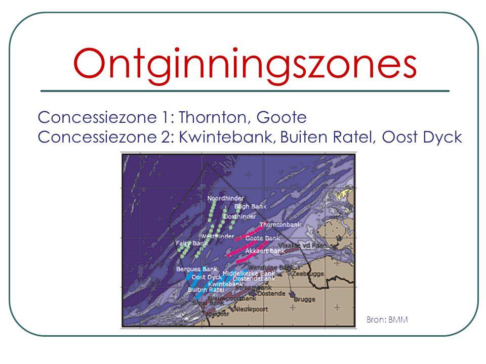 Ontginningszones Het Belgisch continentaal plat, dat ongeveer 3.600 km² beslaat. Het is ingedeeld in twee concessiezones.