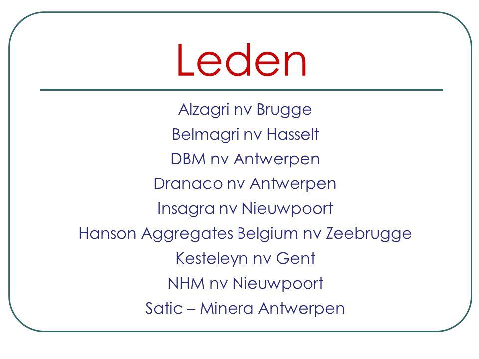 Leden Alzagri nv Brugge Belmagri nv Hasselt DBM nv Antwerpen Dranaco nv Antwerpen Insagra nv Nieuwpoort Hanson Aggregates Belgium nv Zeebrugge Kesteleyn nv Gent NHM nv Nieuwpoort Satic – Minera Antwerpen