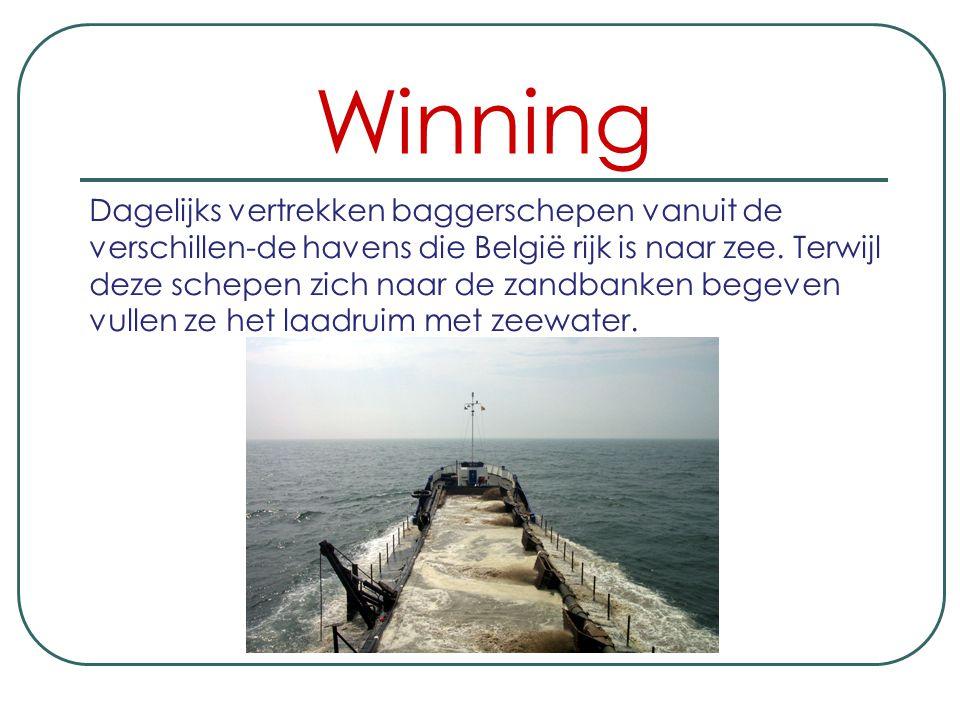 Winning Dagelijks vertrekken baggerschepen vanuit de verschillen-de havens die België rijk is naar zee.
