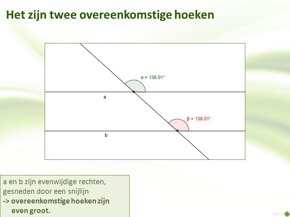 Het zijn twee overeenkomstige hoeken a en b zijn evenwijdige rechten, gesneden door een snijlijn -> overeenkomstige hoeken zijn even groot.