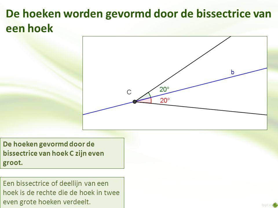 De hoeken worden gevormd door de bissectrice van een hoek Een bissectrice of deellijn van een hoek is de rechte die de hoek in twee even grote hoeken verdeelt.