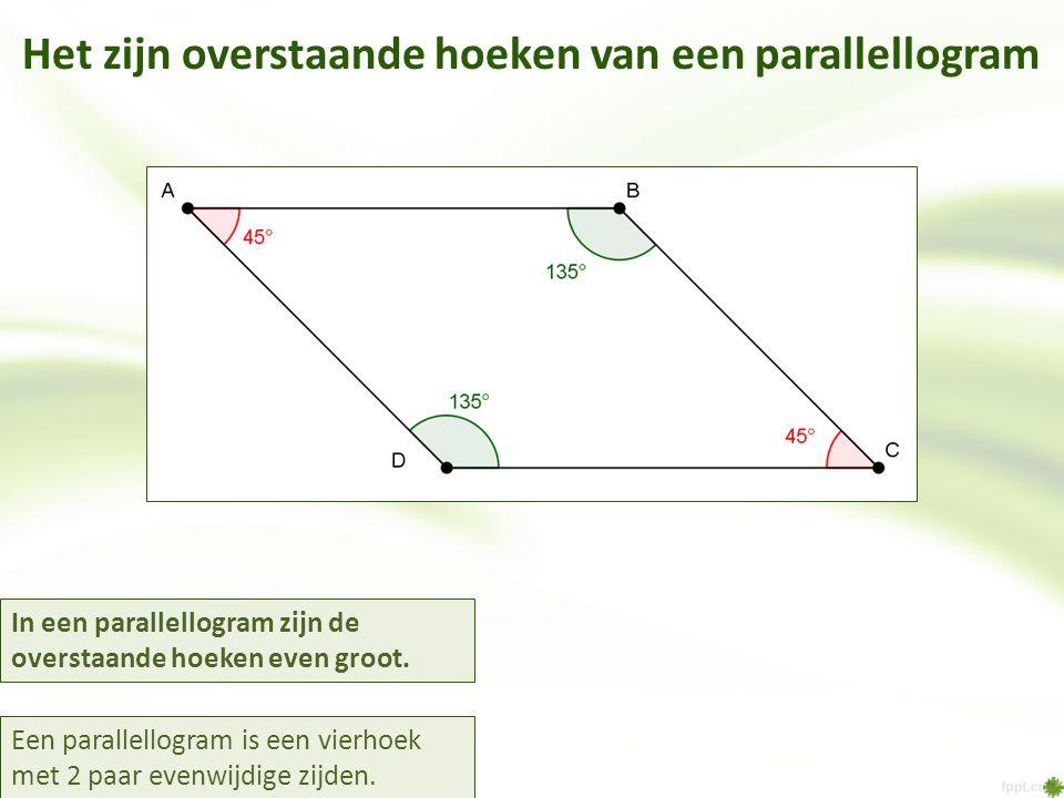 Het zijn overstaande hoeken van een parallellogram In een parallellogram zijn de overstaande hoeken even groot. Een parallellogram is een vierhoek met
