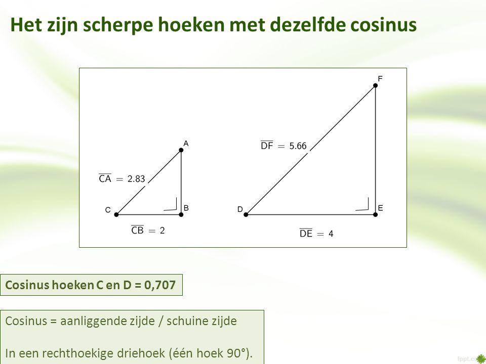Het zijn scherpe hoeken met dezelfde cosinus Cosinus = aanliggende zijde / schuine zijde In een rechthoekige driehoek (één hoek 90°).