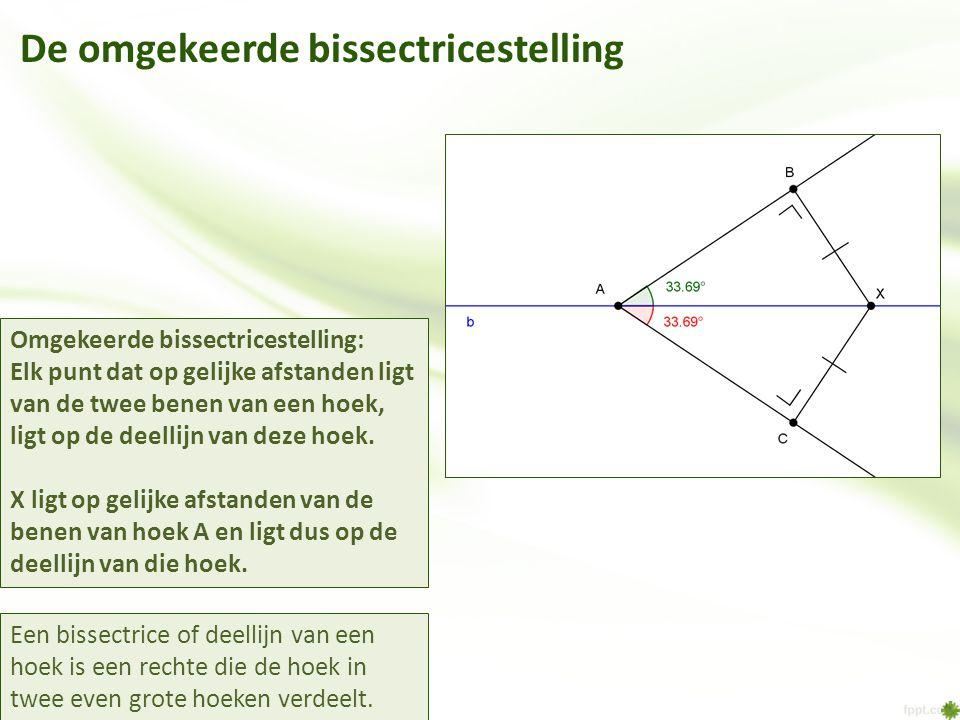 Een bissectrice of deellijn van een hoek is een rechte die de hoek in twee even grote hoeken verdeelt. Omgekeerde bissectricestelling: Elk punt dat op