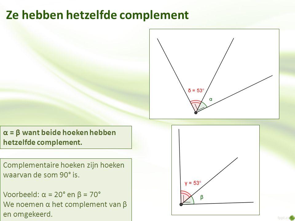 Ze hebben hetzelfde complement Complementaire hoeken zijn hoeken waarvan de som 90° is. Voorbeeld: α = 20° en β = 70° We noemen α het complement van β