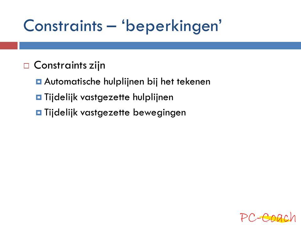 Constraints – Automatische hulplijnen Soms moet je SkecthUp even helpen, door eerst even met je muis over het punt/vlak heen te gaan (niet klikken) dat je wilt gebruiken