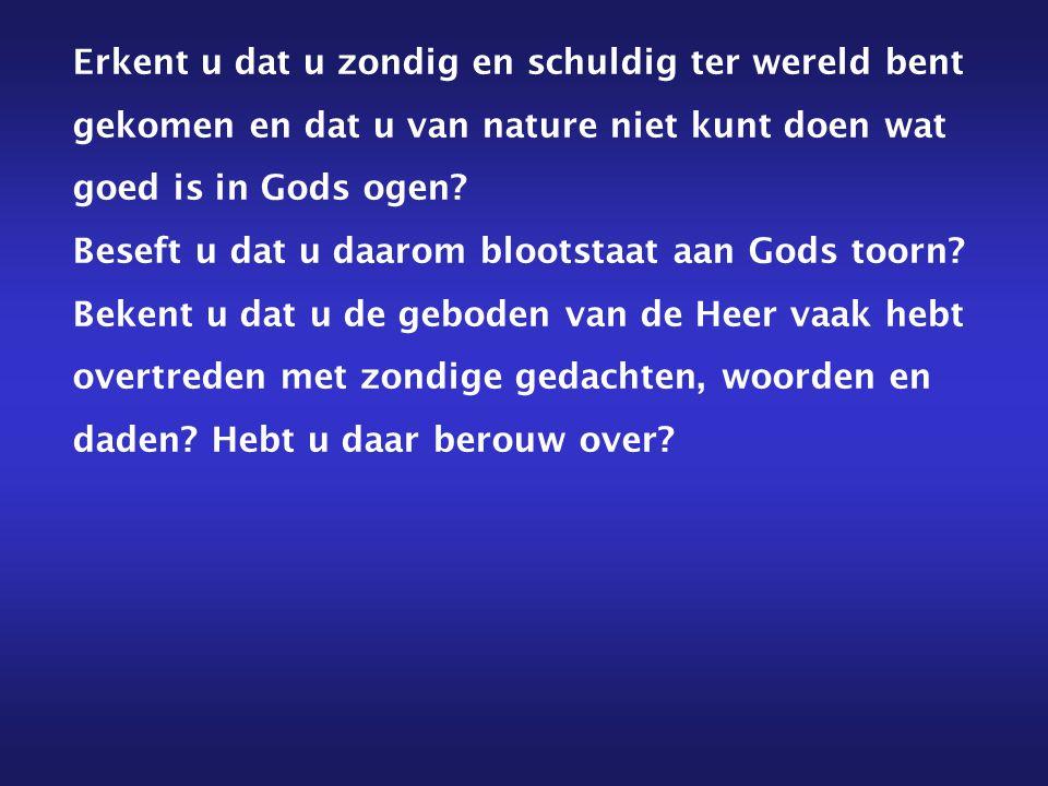 Erkent u dat u zondig en schuldig ter wereld bent gekomen en dat u van nature niet kunt doen wat goed is in Gods ogen? Beseft u dat u daarom blootstaa