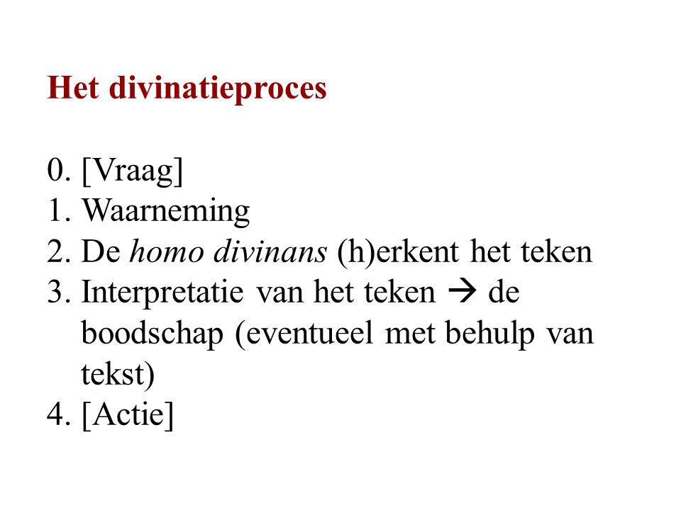 Het divinatieproces 0. [Vraag] 1.Waarneming 2. De homo divinans (h)erkent het teken 3.
