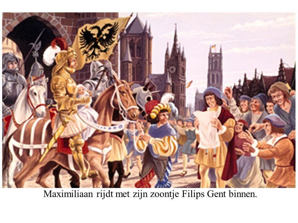 Maximiliaan rijdt met zijn zoontje Filips Gent binnen.