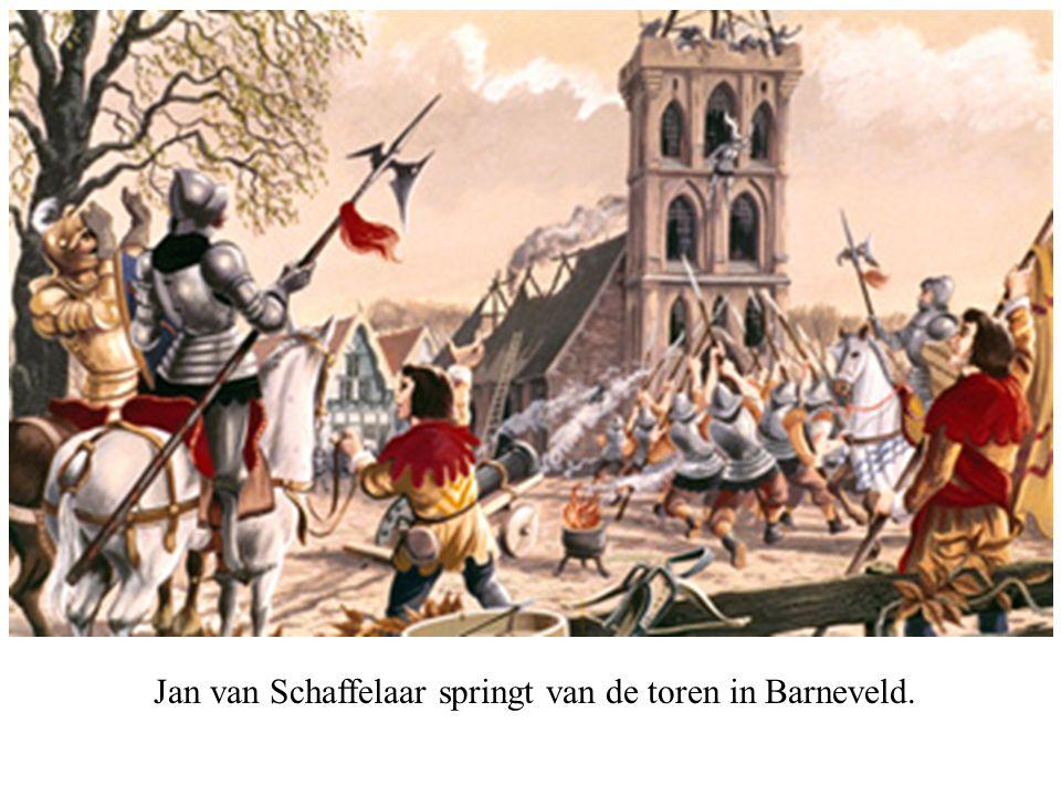 Jan van Schaffelaar springt van de toren in Barneveld.